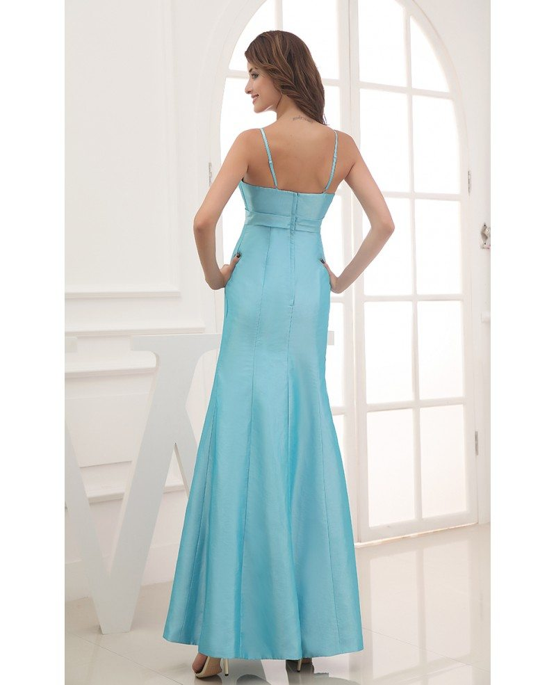 Mermaid Strapless Ankle-length Satin Evening Dress With