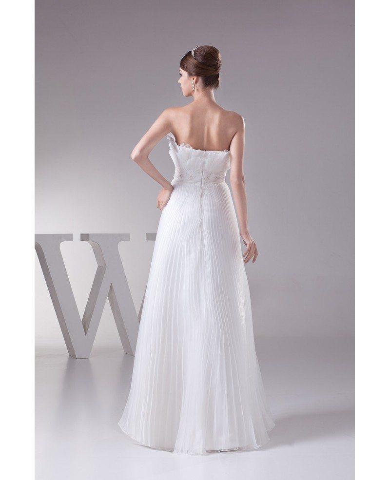 Pleated one shoulder organza floor length wedding dress for Medium length wedding dresses