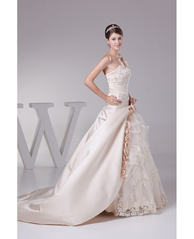 Beautiful one shoulder flowers champagne color wedding for Flowers for champagne wedding dress