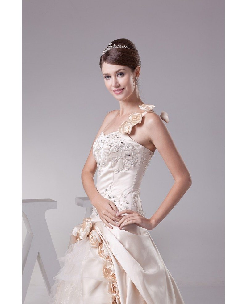 Beautiful One Shoulder Flowers Champagne Color Wedding Dress OPH1284 3389