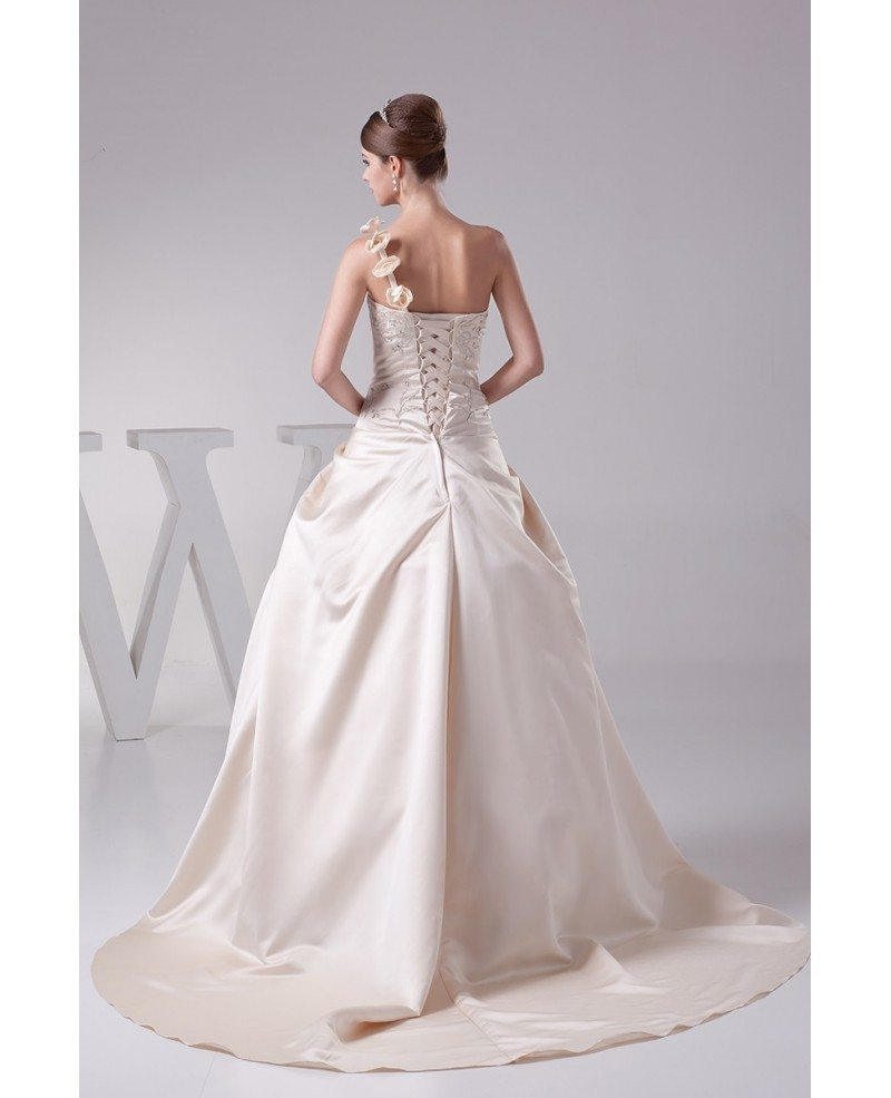 Beautiful One Shoulder Flowers Champagne Color Wedding