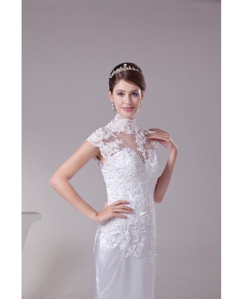 long halter lace cap sleeves sleek satin mermaid wedding