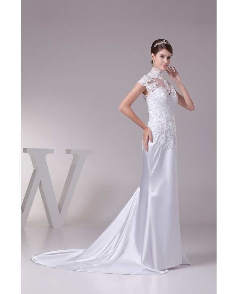 Lace Wedding Dresses With Cap Sleeves: Long Halter Lace Cap Sleeves Sleek Satin Mermaid Wedding