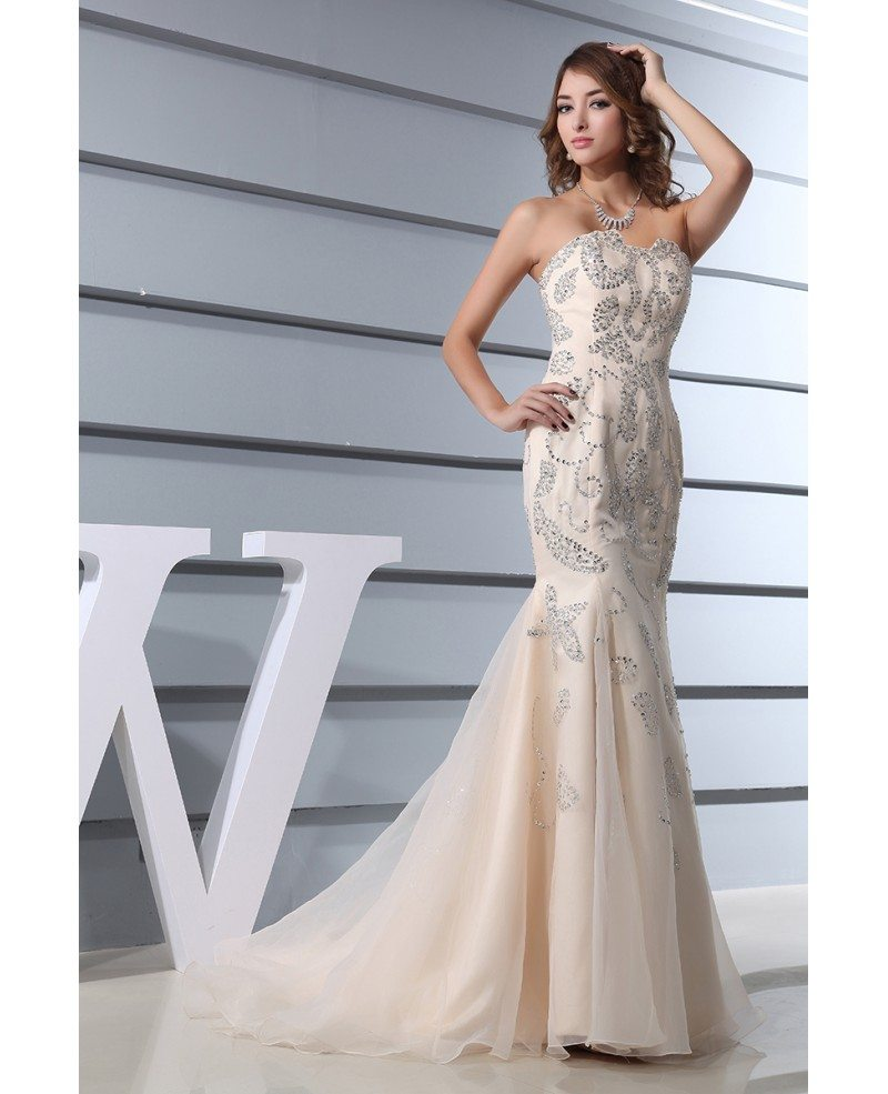 Mermaid Sweetheart Sweep Train Organza Prom Dress With Beading ...