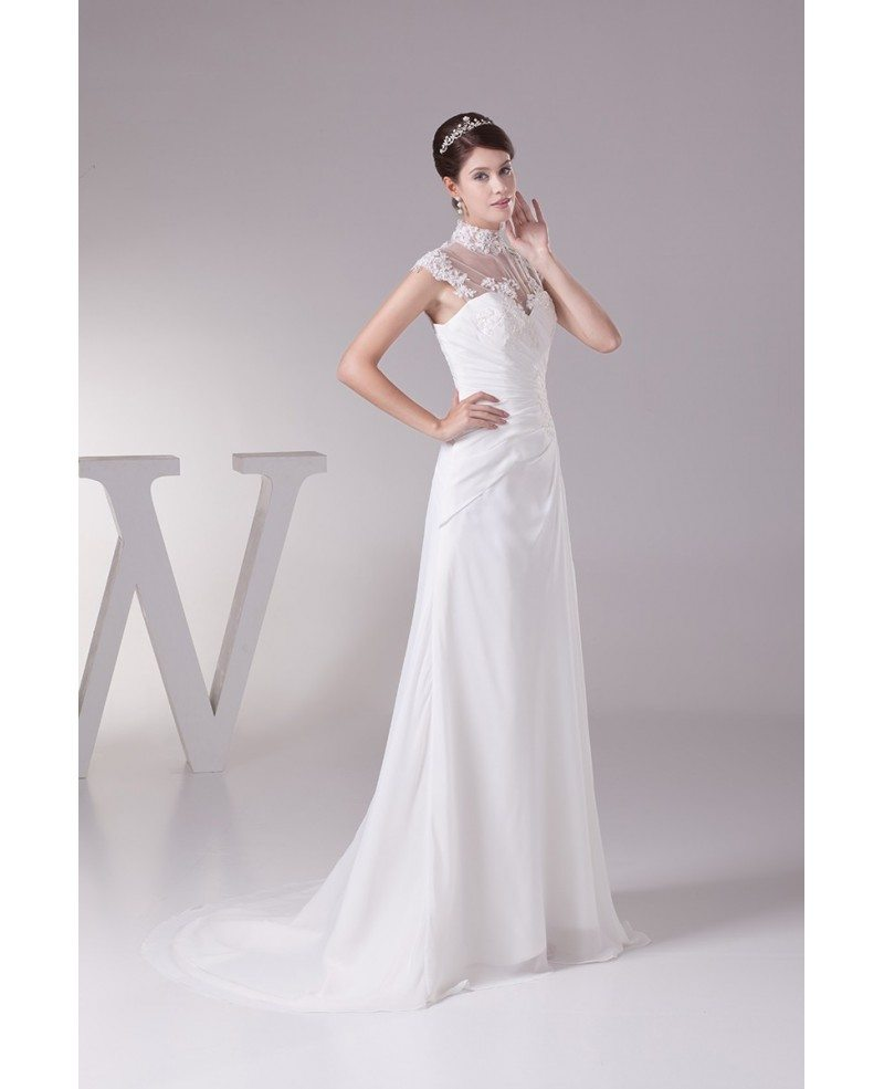 Elegant Long Halter Cap Sleeves Lace Chiffon Beach Wedding Dress ...
