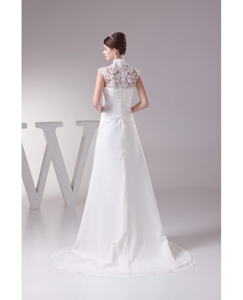 Elegant long halter cap sleeves lace chiffon beach wedding for Elegant wedding dresses with long sleeves