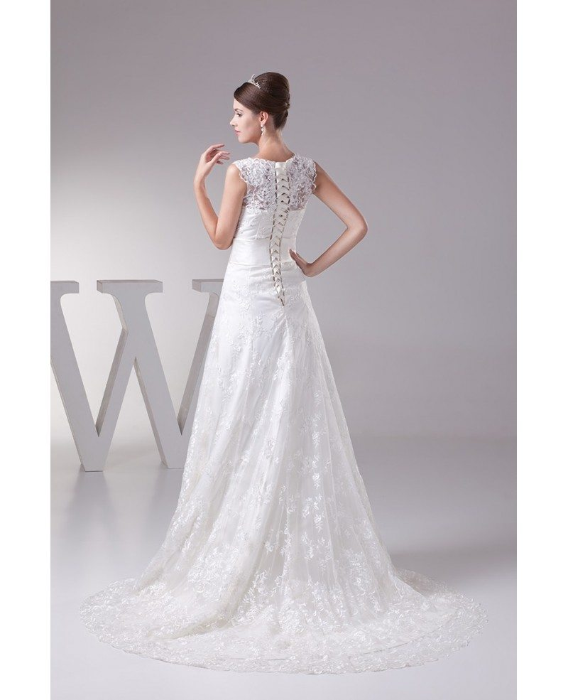 Full of lace high neckline wedding dress with corset back for Wedding dresses with lace up back