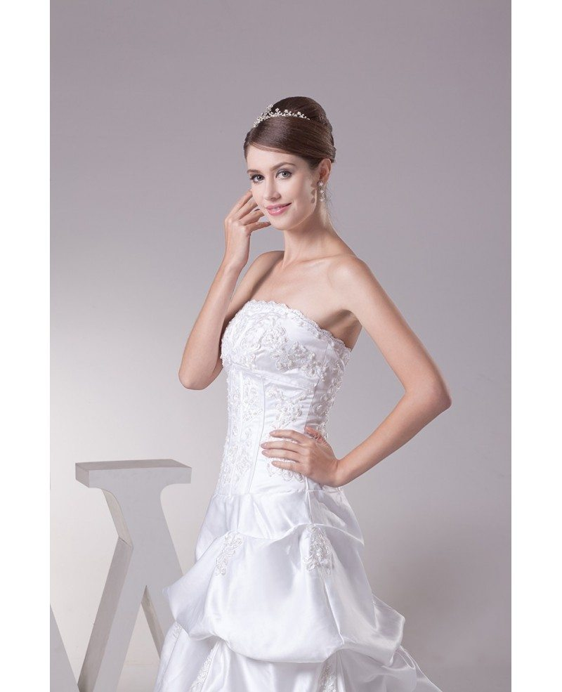 Strapless lace taffeta long train wedding dress oph1295 for Strapless wedding dresses with long trains