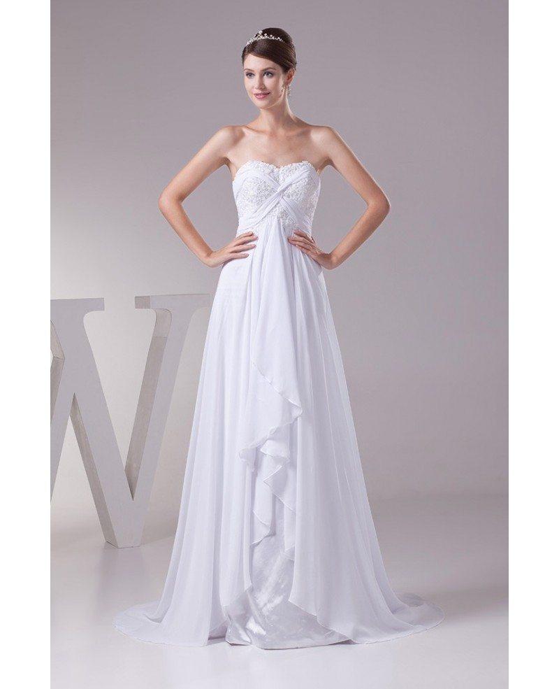 Beach Wedding Dresses: Elegant Sequined Lace Aline Long Chiffon Beach Wedding