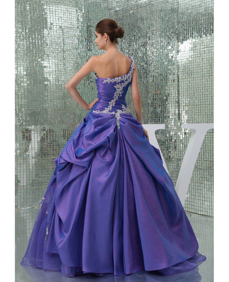Beautiful Lace One Shoulder Purple Taffeta Color Wedding