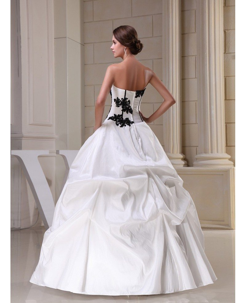Gothic black and white corset ballgown taffeta wedding for White corset wedding dress