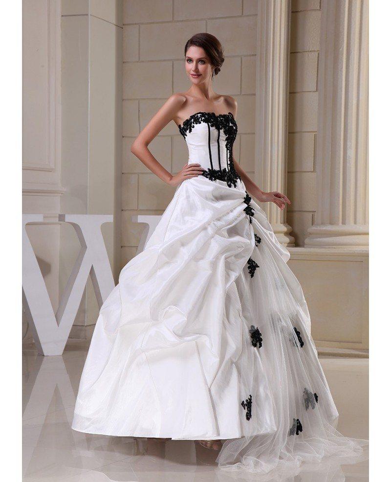Gothic Black and White Corset Ballgown Taffeta Wedding Dress with ...