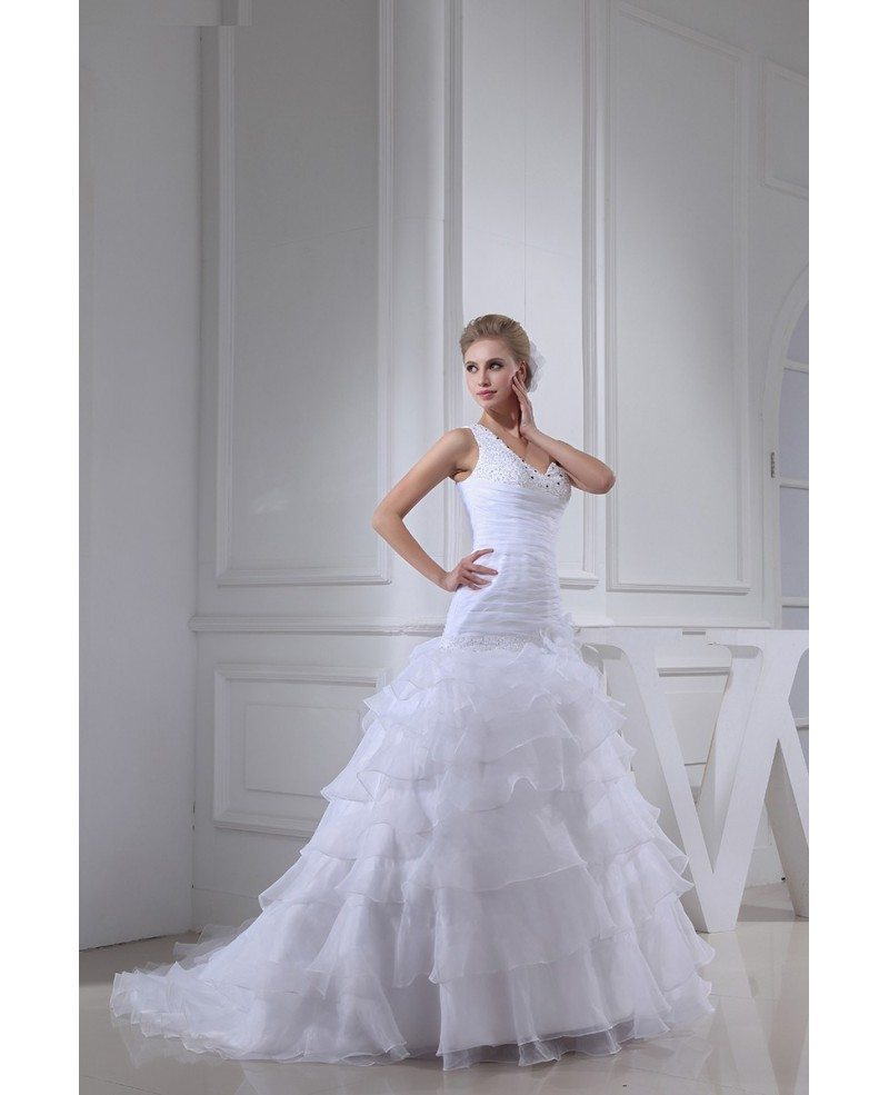 White Fitted Organza One Shoulder Ruffles Wedding Dress #OPH1305 ...