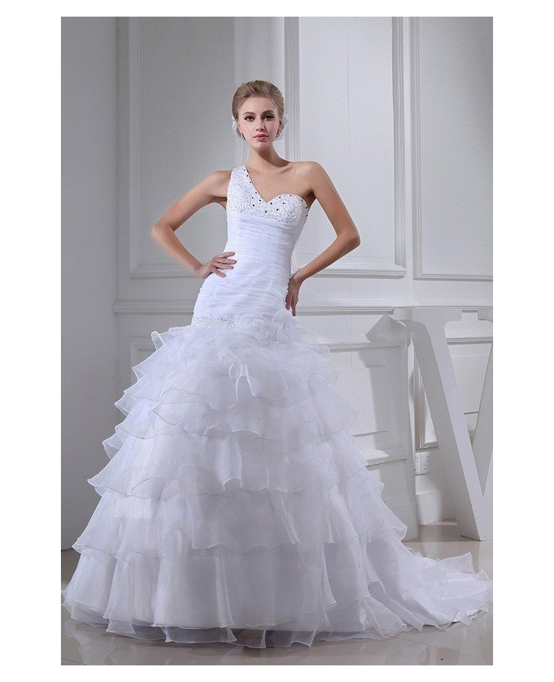 White Ed Organza One Shoulder Ruffles Wedding Dress