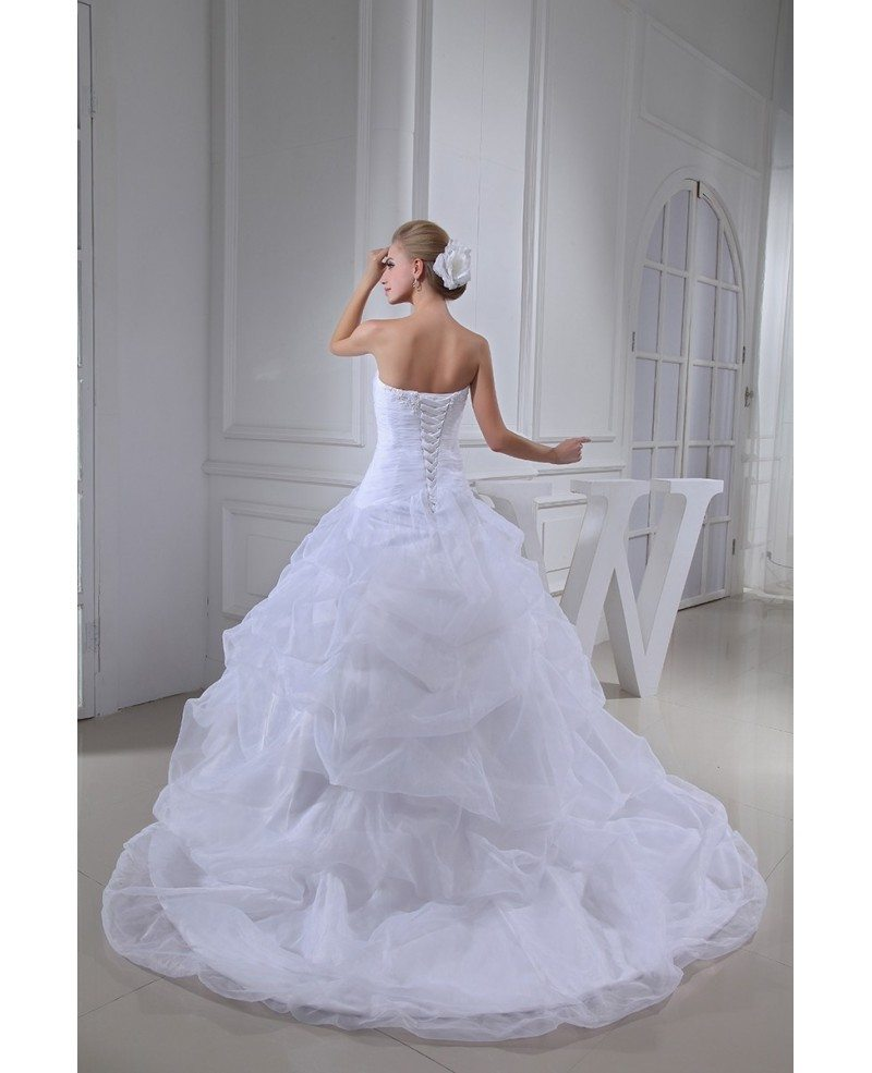 Classic sweetheart ballgown cascading ruffles wedding for Cascading ruffles wedding dress