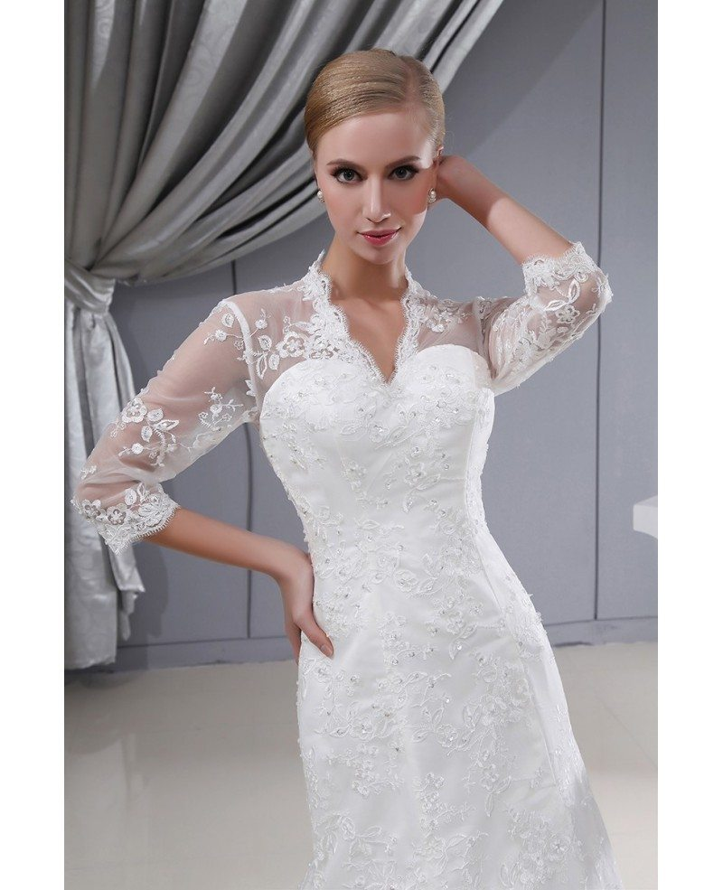 3 4 lace sleeves fitted mermaid long wedding dress corset for 3 4 sleeve wedding guest dress