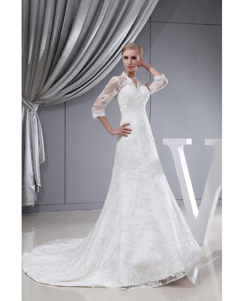 Wedding Dresses 3 4 Sleeves Lace : Wedding dresses gt lace sleeves fitted mermaid long dress