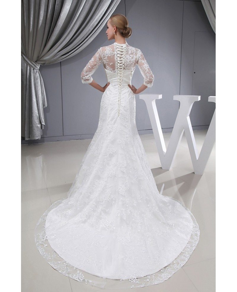 3 4 Lace Sleeves Fitted Mermaid Long Wedding Dress Corset