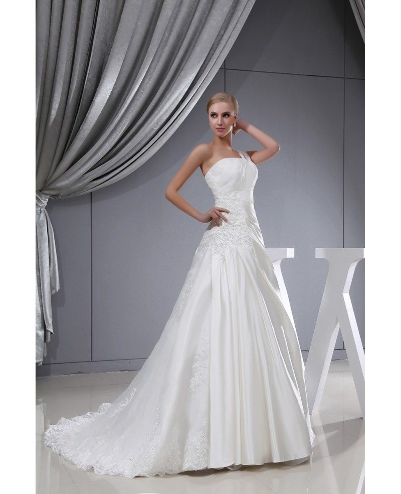 One strap lace satin pleated wedding dress with corset for Wedding dresses one strap