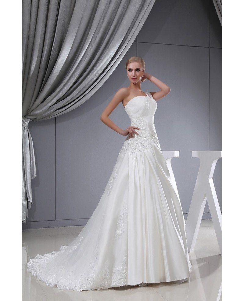 One strap lace satin pleated wedding dress with corset for One strap wedding dress