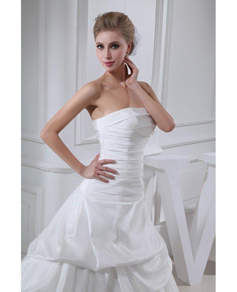 Strapless Wedding Dresses: Strapless Pleated Taffeta Wedding Dress Ruffled #OPH1315