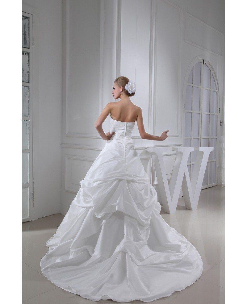 Strapless pleated taffeta wedding dress ruffled oph1315 for Box for wedding dress
