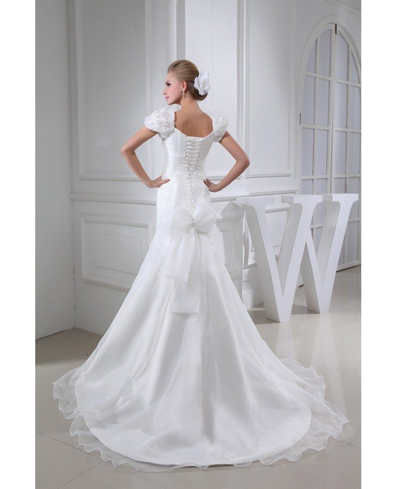 Pretty Wedding Dresses: Pretty Lace Flowers Bubble Sleeves Mermaid Wedding Dress
