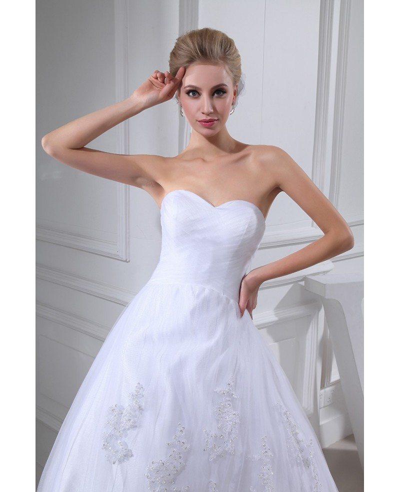 White Lace Tulle Sweetheart Wedding Dress Lace Jacket