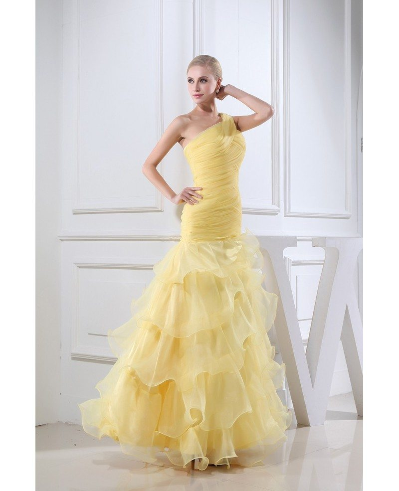 Gold Colored Organza One Shoulder Ruffle Formal Dress # ...