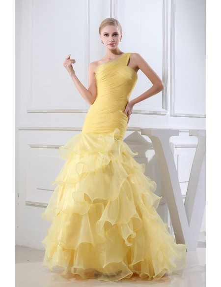 gold colored organza one shoulder ruffle formal dress oph1325 173. Black Bedroom Furniture Sets. Home Design Ideas