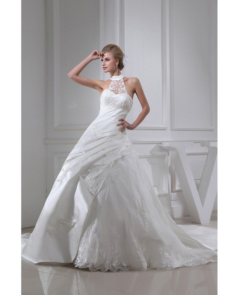 Lace Halter Wedding Gown: Lace Long Halter Pleated Ballgown Wedding Dress #OPH1333
