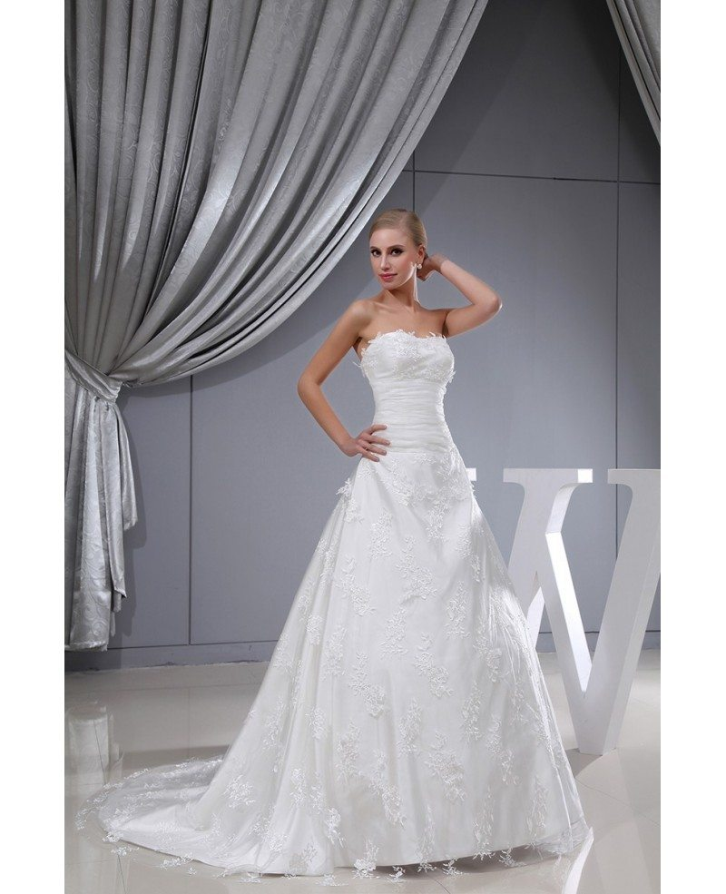 Strapless lace tulle long train wedding dress oph1341 for Strapless wedding dresses with long trains