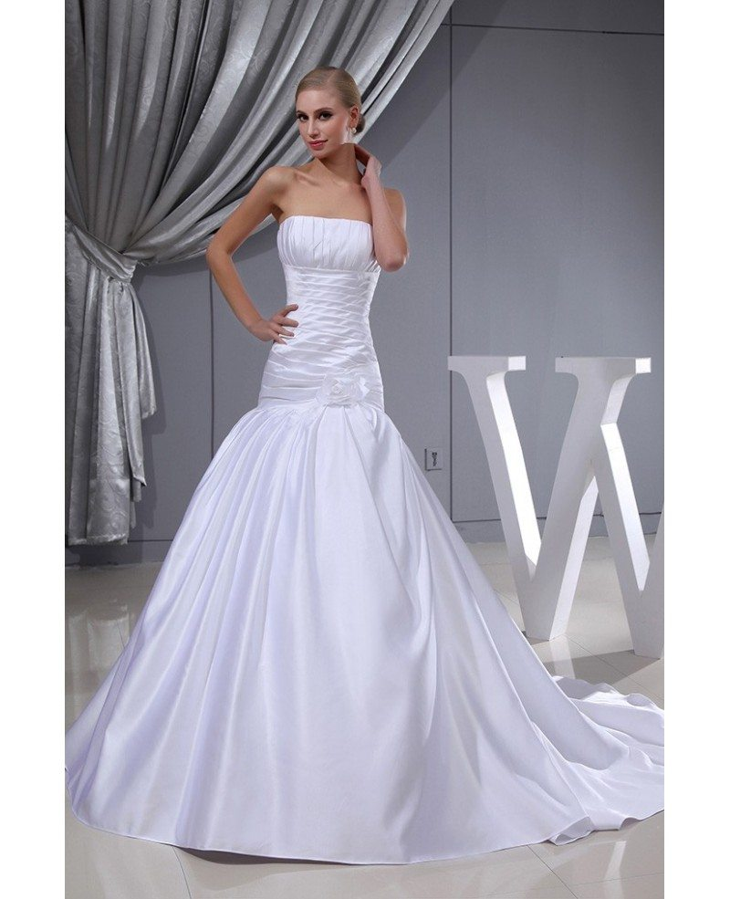 pleated white satin long mermaid wedding dress strapless