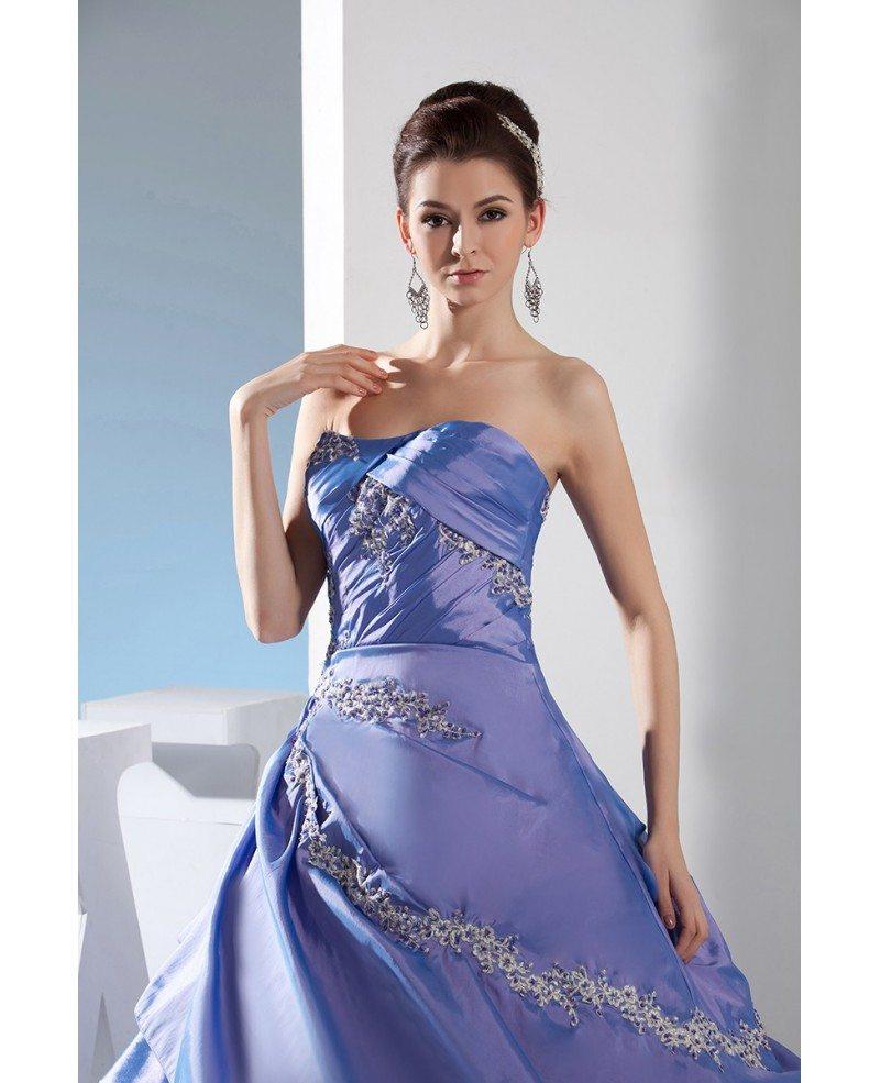 Lavender Taffeta Sequined Lace Color Wedding Dress