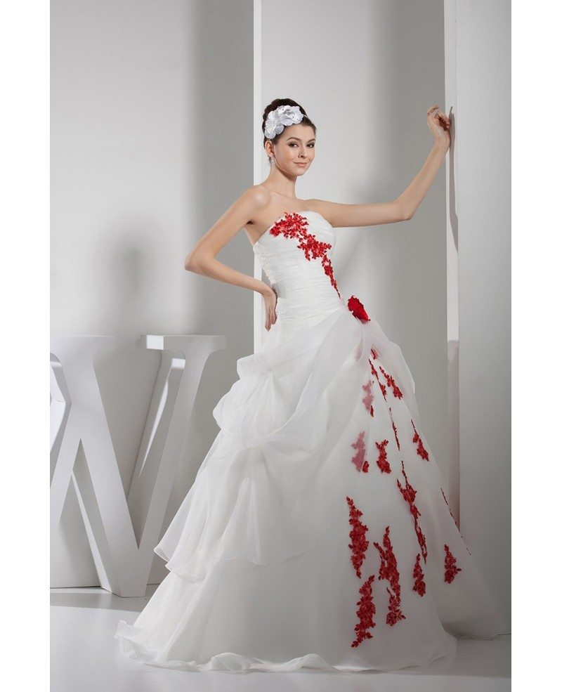 Red And White Lace Wedding Dress