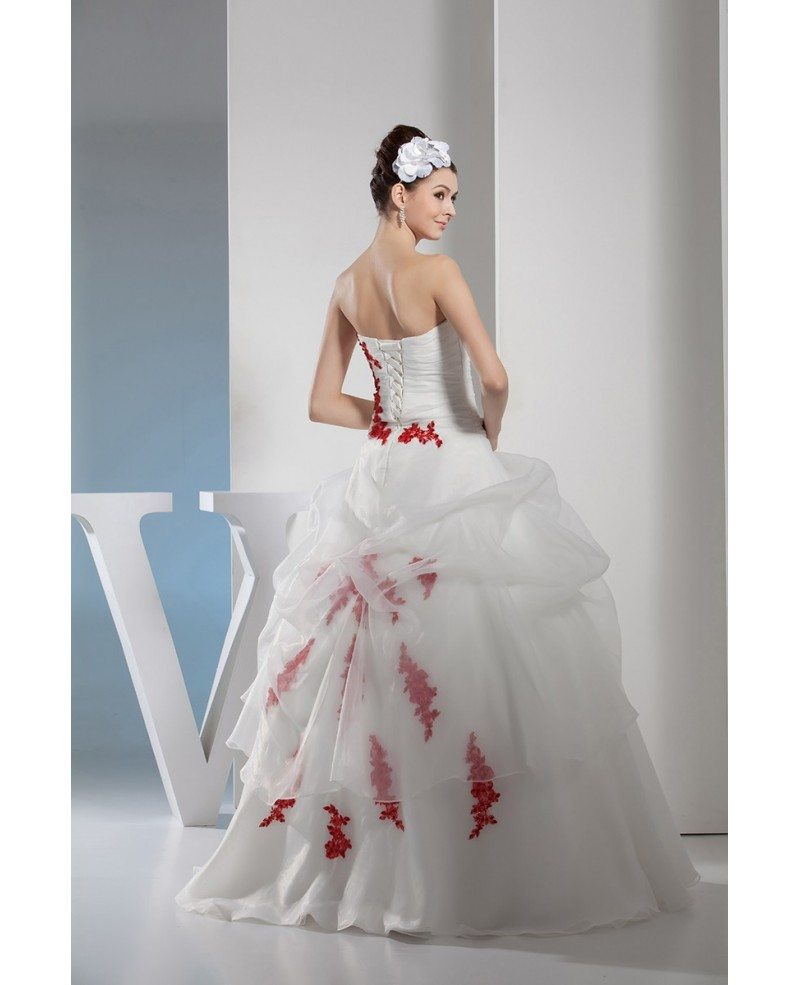Gorgeous Red And White Lace Organza Wedding Dress