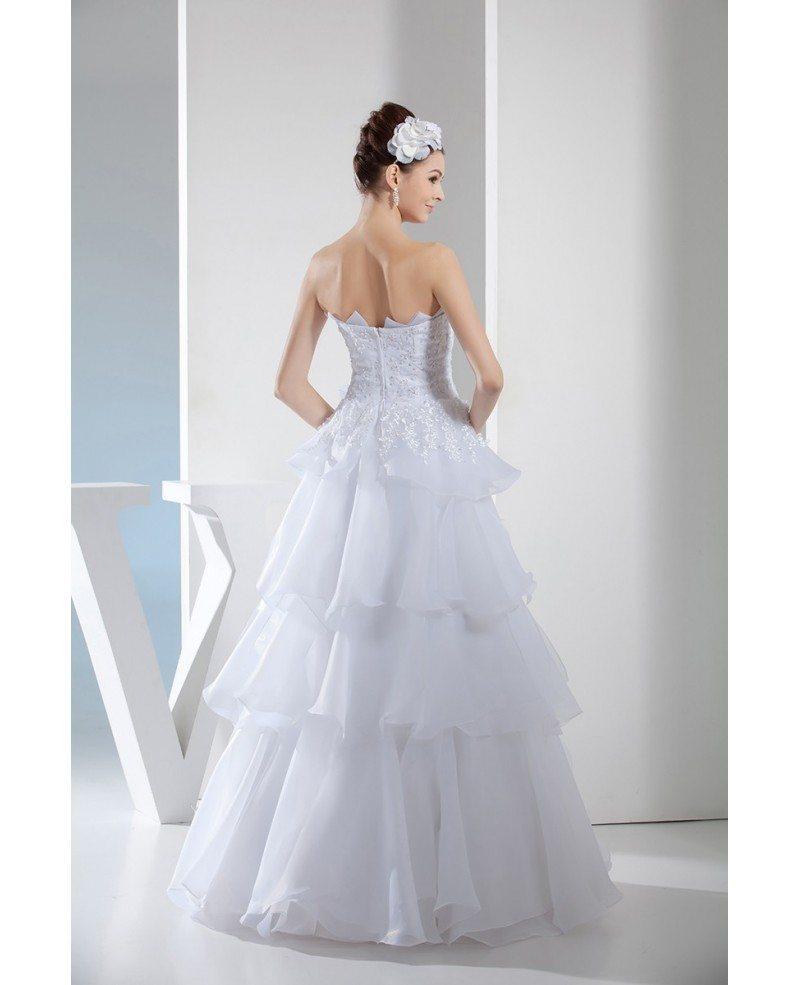 Serrated neckline white organza embroidery layered wedding for Organza layered wedding dress