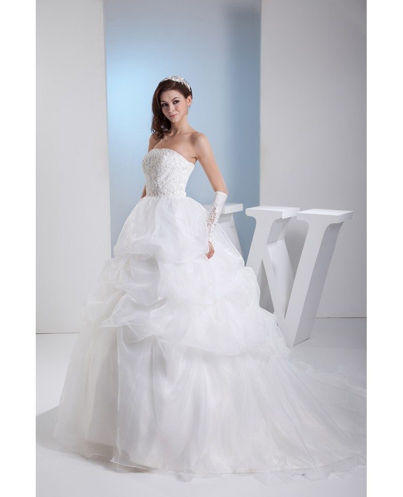 Lace Corset Back Ruffled Wedding Gown Train Length #OPH1366 $318.9 ...