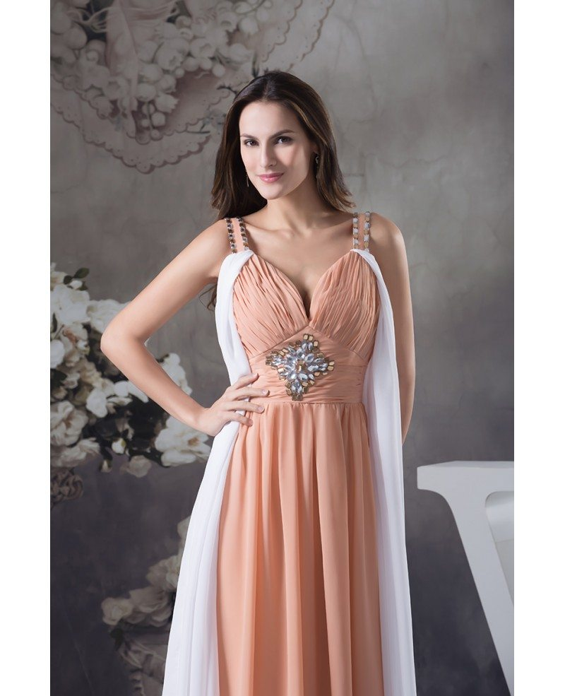 A-line V-neck Ankle-length Chiffon Prom Dress With Beading