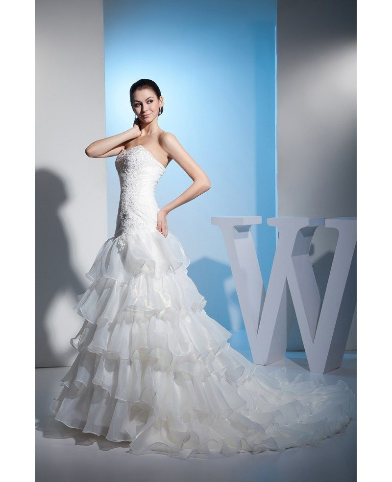Sweetheart Fitted Corset Back Layered Wedding Dress #OPH1372 ...