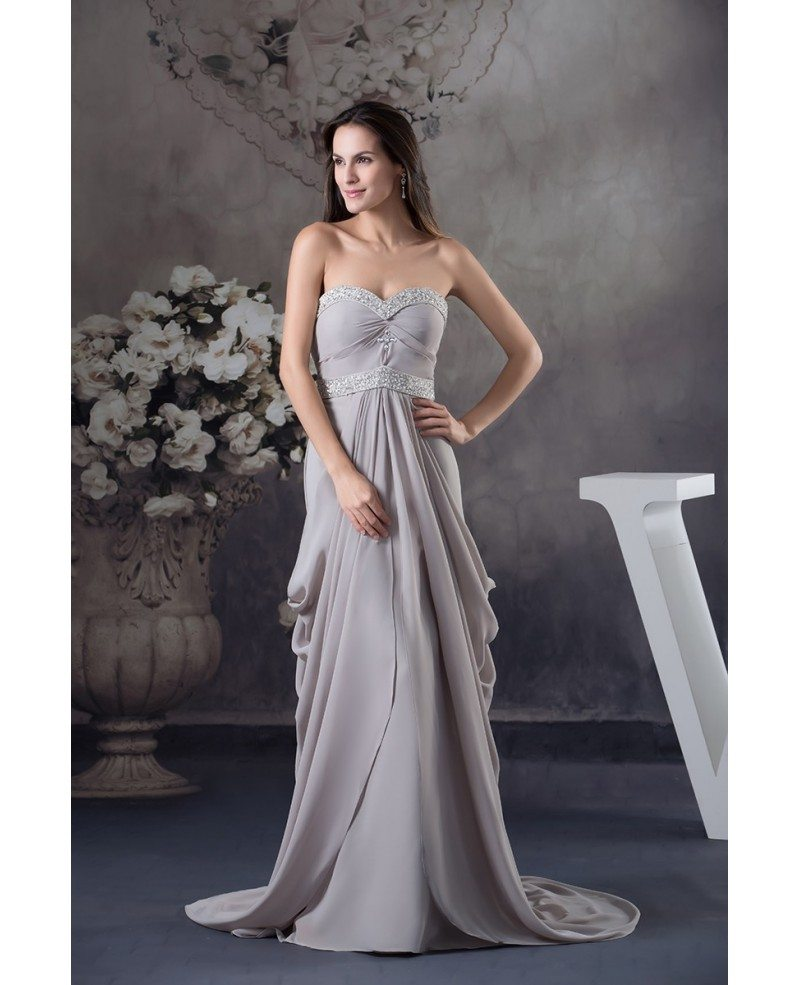 A-line Sweetheart Sweep Train Chiffon Mother Of The Bride