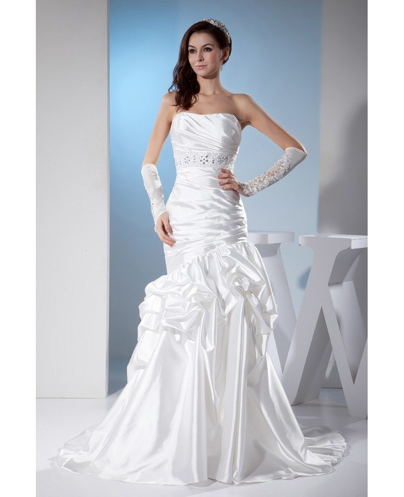 White Sleek Satin Pleated Wedding Dress Ruffled #OPH1375 $269 ...