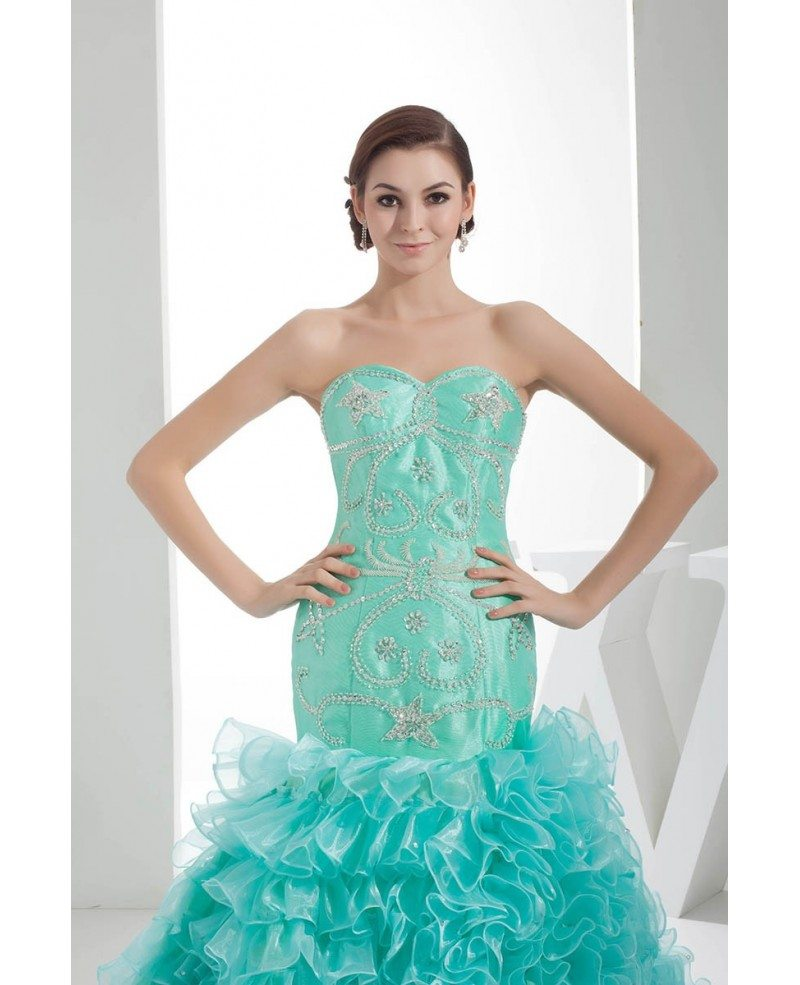 Jade Sequined Sweetheart Cascading Ruffles Color Wedding Dress with ...
