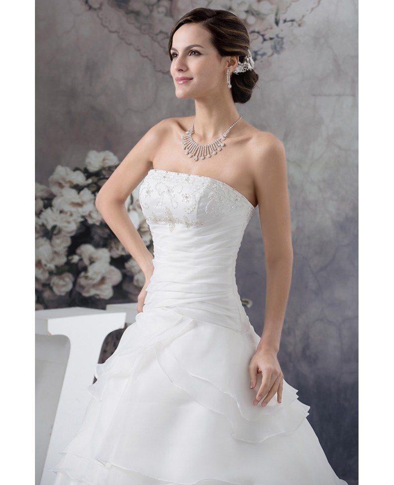 Jeweled Wedding Gowns: Strapless Ball Gown Beaded Tiered Organza Wedding Dress