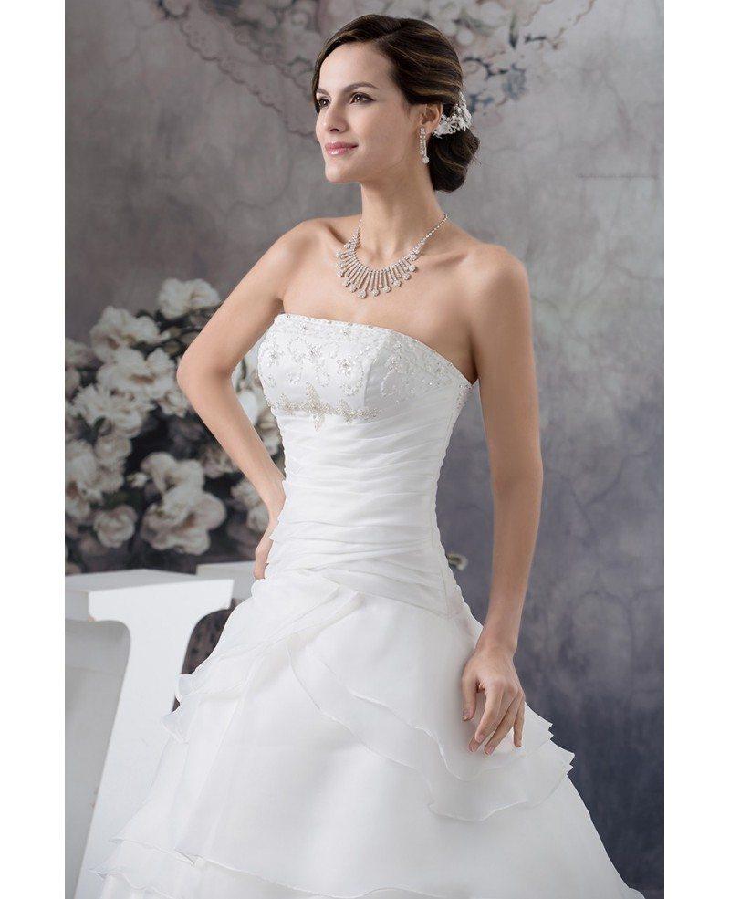 Strapless Wedding Dresses: Strapless Ball Gown Beaded Tiered Organza Wedding Dress
