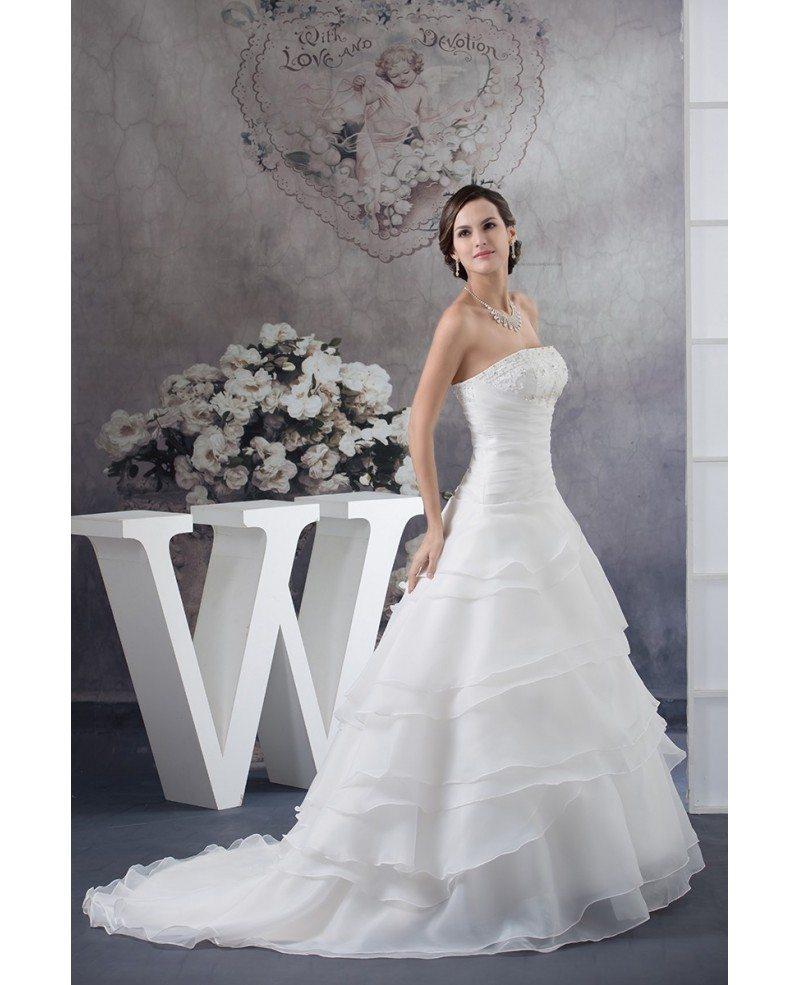 Organza Wedding Gowns: Strapless Ball Gown Beaded Tiered Organza Wedding Dress
