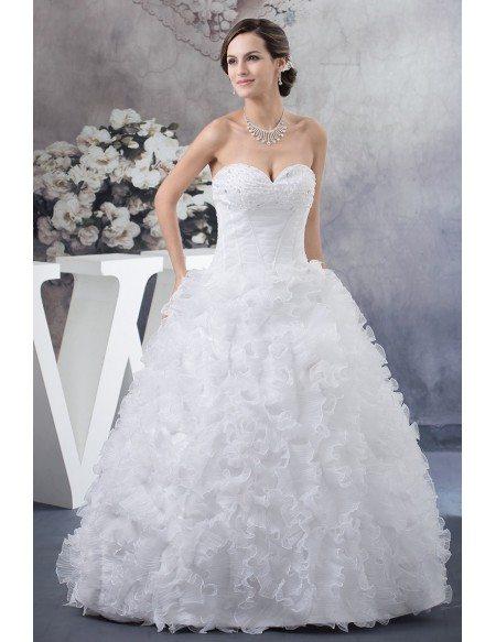 pure white cascading ruffles ballgown wedding dress