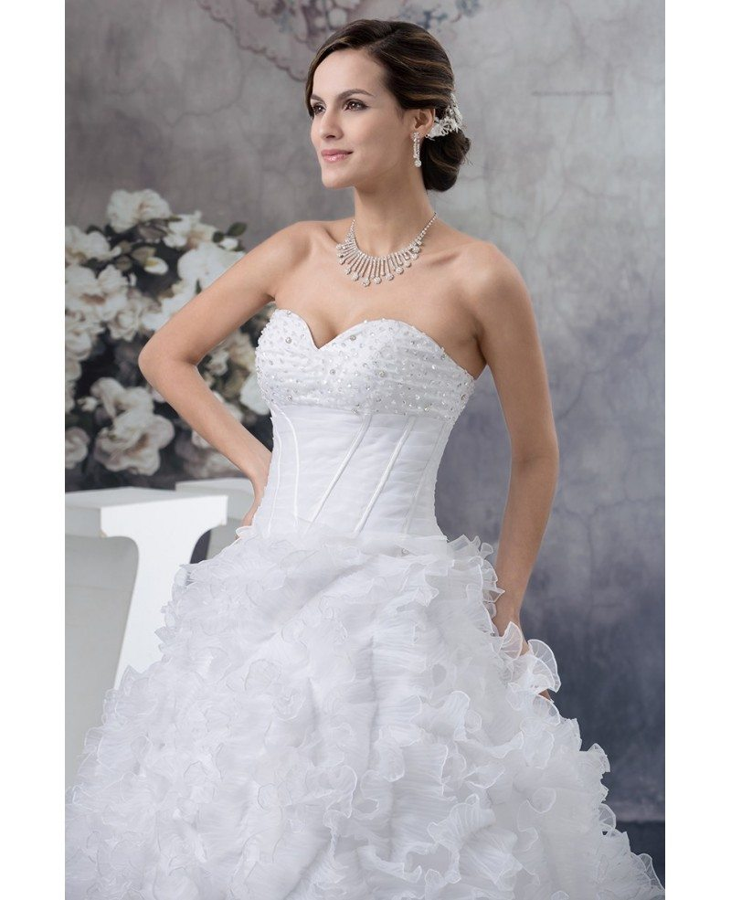 Wedding Gowns With Ruffles: Pure White Cascading Ruffles Ballgown Wedding Dress