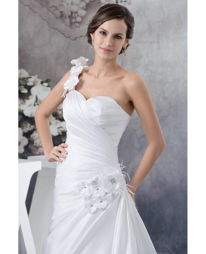 Pleated satin one floral strap beach wedding dress for Floral beach wedding dresses