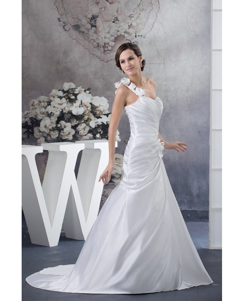 Floral Wedding Dress: Pleated Satin One Floral Strap Beach Wedding Dress